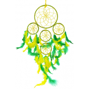 5 Rounds Yellow/Green Color Dream Catcher Wall Hanging