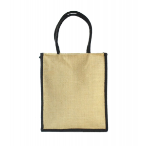 Tote Black Jute Lunch Bag