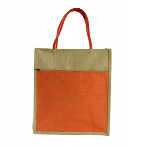 Orange Jute Lunch/Shopping Bag