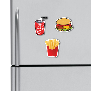 Coca Cola, Burger, French Fries HD Digital Printed ,Fridge Magnets Combo,  Size 4 inches (Pack of 3)