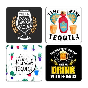 Drinking Quotes Typography Printed Tea Coaster ARTCOASTERSET4COMBO-13