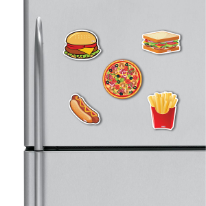 Burger, Sandwich, Pizza, Hotdog, French Fries HD Digital Printed ,Fridge Magnets Combo,  Size 4 inches (Pack of 5)