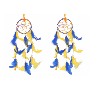 Ashvah Natural Feather Small Dream Catcher Hanging for Cars/Rooms (3 inch) - for Positive Energy and Protection (Yellow/Blue) (Pack of 2)
