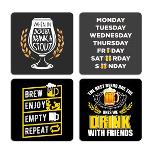 Drink with Friends Typography Quotes Printed Tea Coaster ARTCOASTERSET4COMBO-14