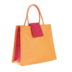 Orange Jute Lunch Bag
