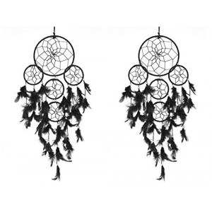 5 Rounds Black Dream Catcher (Pack of 2) Wall Hanging