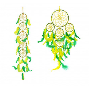 Dream Catcher Long 5 Rings and 5 Rounds (Green/Yellow)- (Pack of 2)