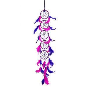 Dream Catcher Long 5 Rings  - Pink and Blue (3 Inches)