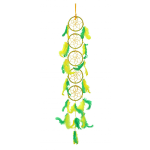 5 Rings Long Dream Catcher Wall Hanging - Yellow & Green (3 Inches)