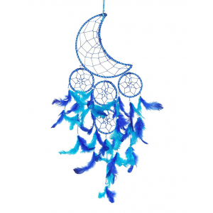 Natural Feather Moon Crescent Blue Dream Catcher Wall Hanging for Positive Energy and Protection