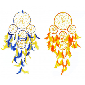 Dream Catcher 5 Rounds Yellow Orange - Yellow Blue - Wall Hanging (Combo Pack of 2) for Positive Energy and Protection (Big Size 55cm)