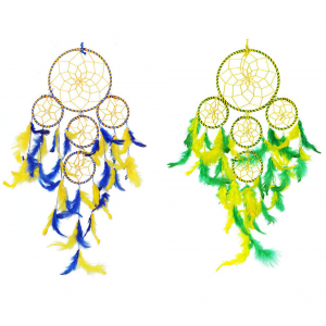 Dream Catcher 5 Rounds Yellow Green and Yellow Blue Wall Hanging (Pack of 2) for Positive Energy and Protection