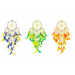 5 Rounds Dream Catcher Combo (Pack of 3) Wall Hanging for Positive Energy and Protection (Big Size 55cm)