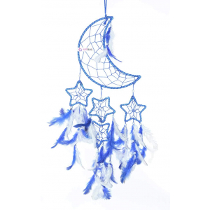 Dream Catcher Moon Crescent and 4 Stars - Blue/ White