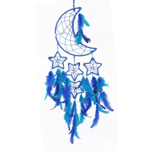 Ashvah Natural Feather Moon and Stars (Blue) Dream Catcher Wall Hanging for Positive Energy and Protection - for Home/Office/Shop/Rooms  (Pack of 1)