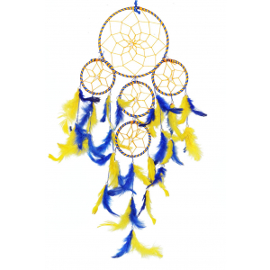5 Rounds Blue and Yellow Dream Catcher Wall Hanging