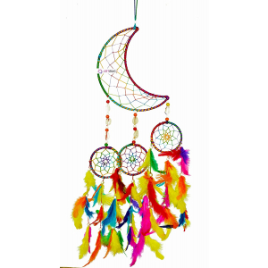Dream Catcher Moon Crescent and 3 Rounds - Multicolor