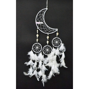 Dream Catcher Moon Crescent and 3 Rounds - White
