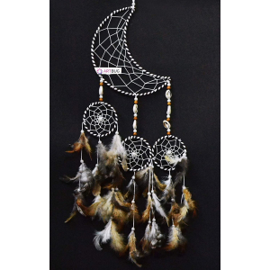 Dream Catcher Moon Crescent and 3 Rounds - Natural Color