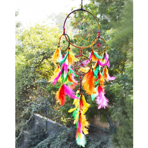 Ashvah 5 Rings (Circles/Rounds/Chakras/Tier) Multi Color Dream Catcher Size - 15cm x 55cm
