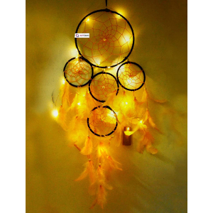 Ashvah Dream Catcher Wall Hanging with LED Lights - Black and Yellow Combination - for Positive Energy and Protection - Size 15cm x 55cm