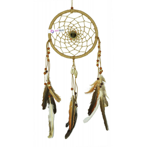 Ashvah Hand Made Premium Natural Feathers Dream Catcher Wall Hanging for Positive Energy and Protection - for Home/Office/Shop/Rooms - Color - Natural, Size - 20cm- Large