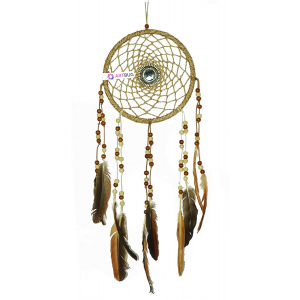 Ashvah Hand Made Premium Dream Catcher Wall Hanging for Positive Energy and Protection - for Home/Office/Shop/Rooms Made of Natural Bird Feathers - Color - Natural, Size - 20cm- Large