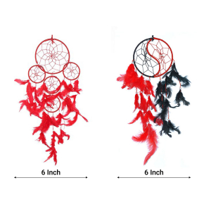 Dream Catcher 5 Rounds and Yin Yang Wall Hanging (Combo Pack of 2)