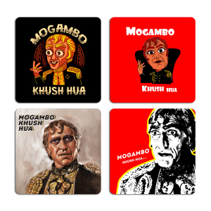 Mogambo Khush Hua Funny Quotes Typography Printed Tea Coaster ARTCOASTERSET4COMBO-20