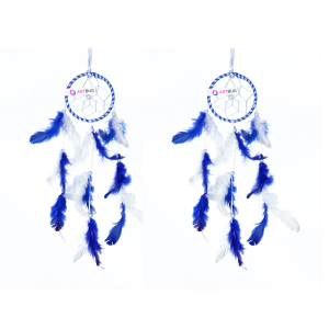 Ashvah Natural Feather Small Dream Catcher Hanging for Cars/Rooms (3 inch) - for Positive Energy and Protection (Dark Blue/White) (Pack of 2)