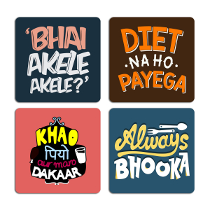 Funny Hungry Quotes Typography Printed Tea Coaster ARTCOASTERSET4COMBO-23