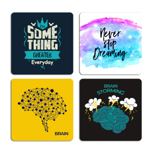 Brainstorming Quotes Typography Printed Tea Coaster ARTCOASTERSET4COMBO-24