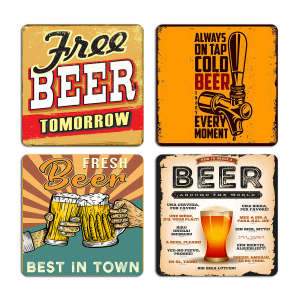 Beer Lover Quotes Typography Printed Tea Coaster ARTCOASTERSET4COMBO-25