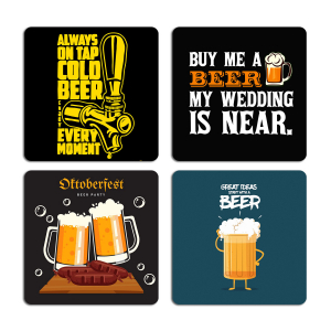 Awesome Beer Quotes Typography Printed Tea Coaster ARTCOASTERSET4COMBO-26