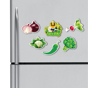 Pure Veg, Vegetables Combo HD Digital Printed ,Fridge Magnets Combo,  Size 4 inches (Pack of 6)