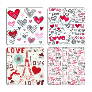 Love Quotes Typography Printed Tea Coaster Set of 4