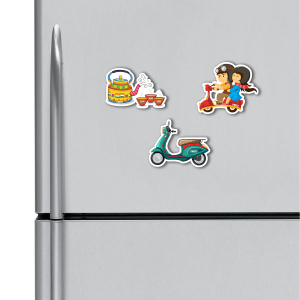 Cute Couple, Tea, Scooter HD Digital Printed ,Fridge Magnets Combo,  Size 4 inches (Pack of 3)