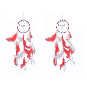 Ashvah Natural Feather Small Dream Catcher Hanging for Cars/Rooms (3 inch) - for Positive Energy and Protection (Red/White) (Pack of 2)