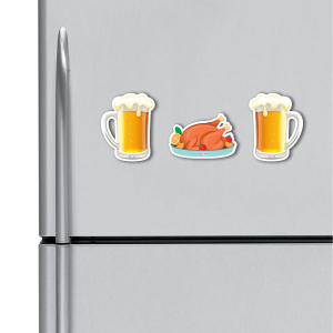 Beer and Chicken HD Digital Printed ,Fridge Magnets Combo,  Size 4 inches (Pack of 3)