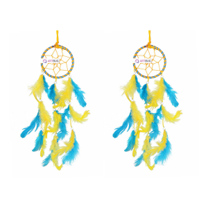 Ashvah Natural Feather Small Dream Catcher Hanging for Cars/Rooms (3 inch) - for Positive Energy and Protection (Blue/Yellow) (Pack of 2)