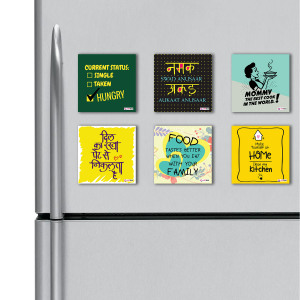 Foodie / Kitchen Quotes HD Digital Printed ,Fridge Magnets Combo,  Size 4 inches (Pack of 6)
