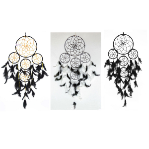 Ashvah 5 Rounds Black Combo Dream Catcher Wall Hanging (Pack of 3) - for Home/Office/Shop/Rooms