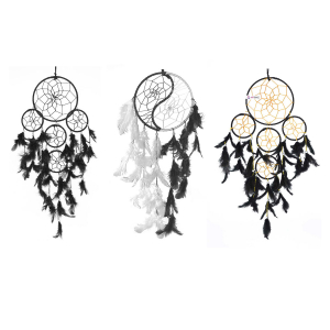 Ashvah 5 Rounds and Yin Yang Wall Hanging (Combo Pack of 3) for Positive Energy and Protection (Big & Medium Combo) (Black/White) - for Home/Office/Shop/Rooms