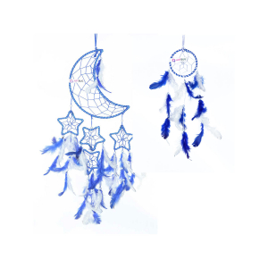 Ashvah Natural Feather Moon and Stars Blue Dream Catcher Wall Hanging for Positive Energy and Protection (Blue/White) (Big & Small Combo) - Home Decor, Decoration Ornament