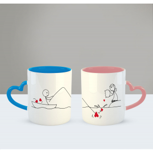Catch my heart Printed Ceramic Coffee Mug for Couple , Wife , Husband