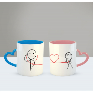 My heart beats for you Printed Ceramic Coffee Mug for Couple , Wife , Husband