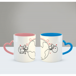 Love has no distance Printed Ceramic Coffee Mug for Couple , Wife , Husband