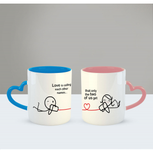 Love is calling each other name Printed Ceramic Coffee Mug for Couple , Wife , Husband