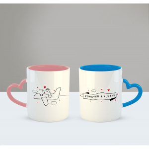 Flying with love Printed Ceramic Coffee Mug for Couple , Wife , Husband