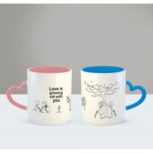 love is growing old with you Printed Ceramic Coffee Mug for Couple , Wife , Husband